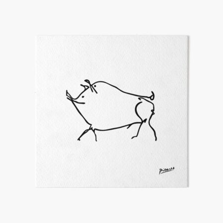 Pablo Picasso Line Art cute pig Artwork Sketch black and white Hand Drawn ink Silhouette HD High Quality Art Board Print