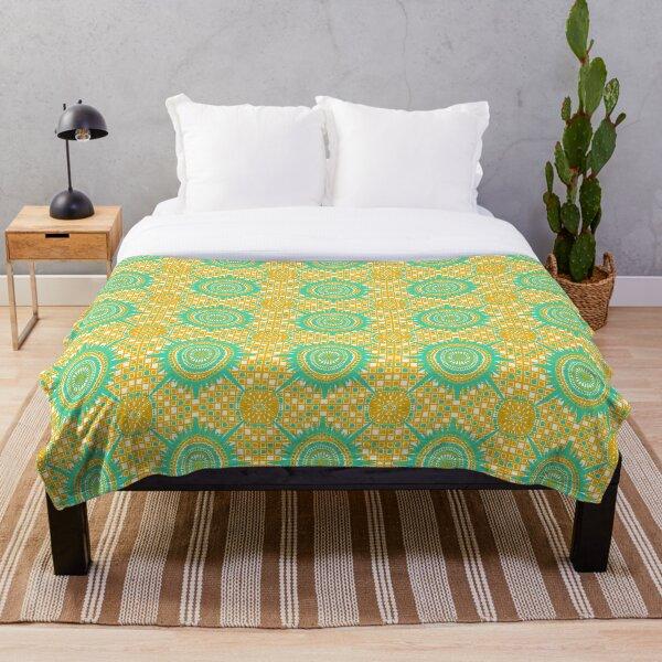 Wonky Medallion - Saffron Yellow, Minty Green, White Throw Blanket