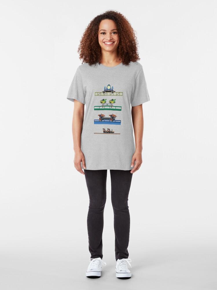 Alternate view of Toverland Coaster Cars Design Slim Fit T-Shirt