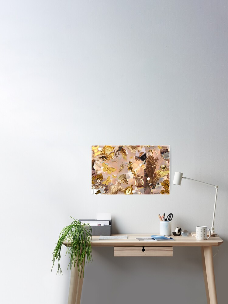 Gold Aesthetic Collage Poster By Annieebroo Redbubble