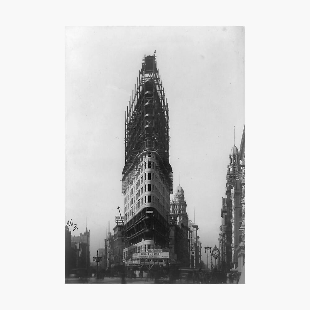 Old NYC Flat Iron Building Construction Photograph Lámina fotográfica