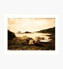Derelict boat in Outer Hebrides Art Print