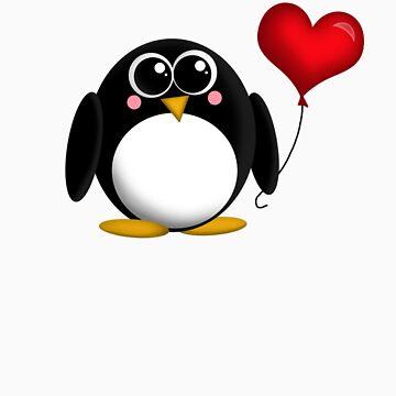 Adorable Penguin Heart Balloon by Starzraven