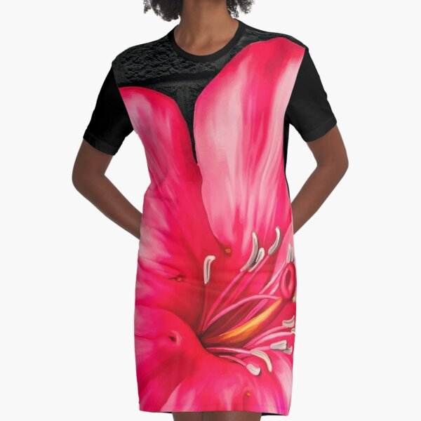 Elegant Pink Gumamela Graphic T-Shirt Dress