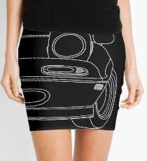 miata outline - white Mini Skirt