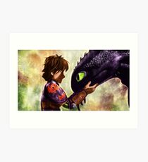 How to Train Your Dragon - Hiccup and Toothless Art Print