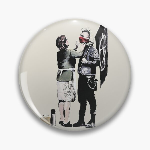 Banksy graffiti mom and punk with anarchist flag Protest Don't forget to eat your lunch and make some trouble quote on beige and white background HD HIGH QUALITY ONLINE STORE Pin