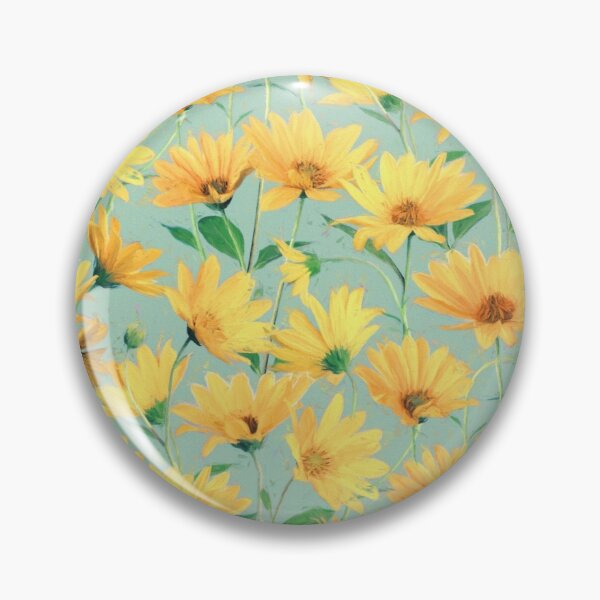 Painted Golden Yellow Daisies on soft sage green Pin