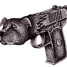Pit Bull Gun surreal black and white pen ink drawing  by Vitaliy Gonikman