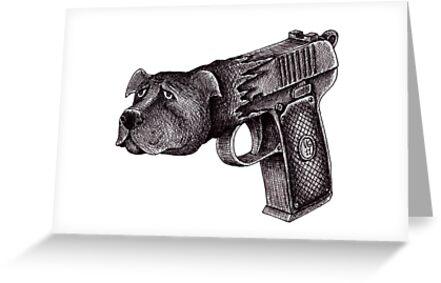 Pit Bull Gun surreal black and white pen ink drawing  by Vitaliy Gonikman