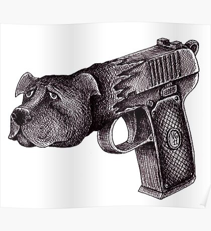 Pit Bull Gun surreal black and white pen ink drawing  Poster
