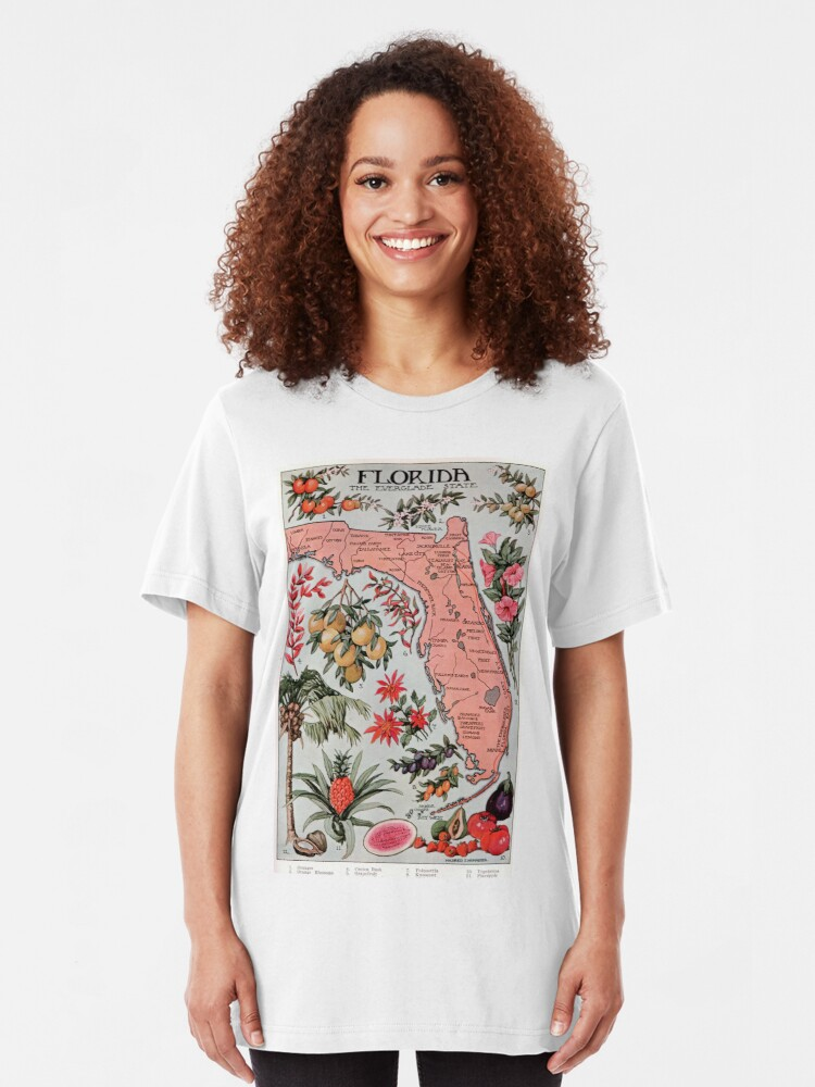 Alternative Ansicht von Vintage Karte von Florida (1917) Slim Fit T-Shirt