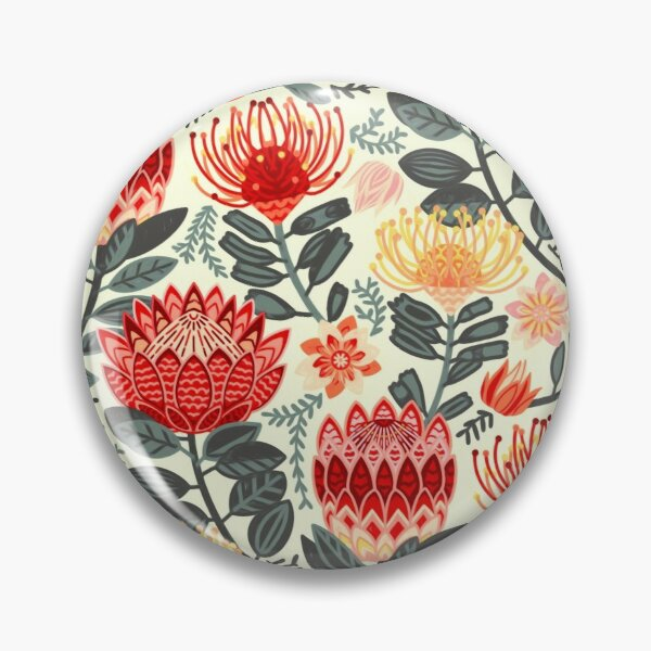Protea Chintz - Grey & Red Pin