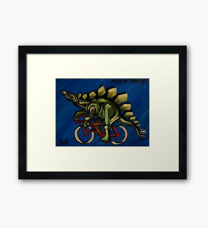 Stegosaurus on a Bicycle Framed Print