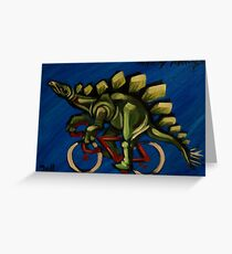 Stegosaurus on a Bicycle Greeting Card