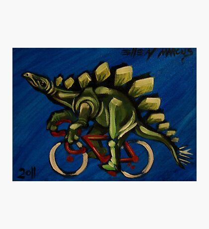 Stegosaurus on a Bicycle Photographic Print