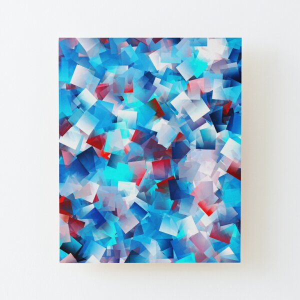 Bright Blue Cubes Wood Mounted Print