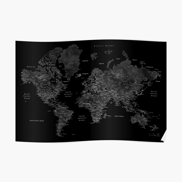 Very black world map with cities Poster