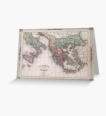 Vintage Map of Greece and Italy (1852) Greeting Card