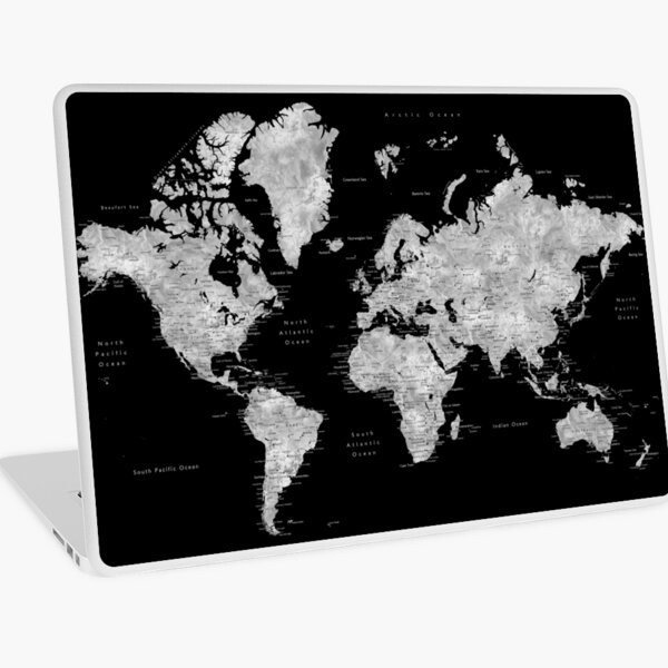 Black and grey watercolor world map with cities Laptop Skin