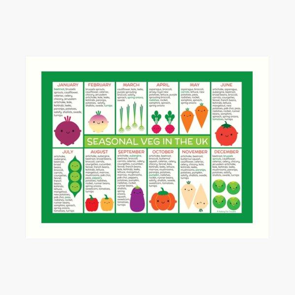 UK Seasonal Vegetables Chart Art Print