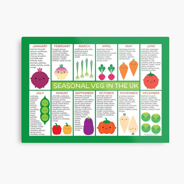 UK Seasonal Vegetables Chart Metal Print