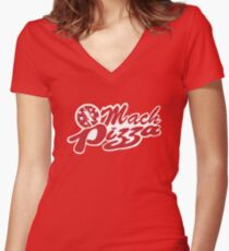 Mach Pizza Women's Fitted V-Neck T-Shirt