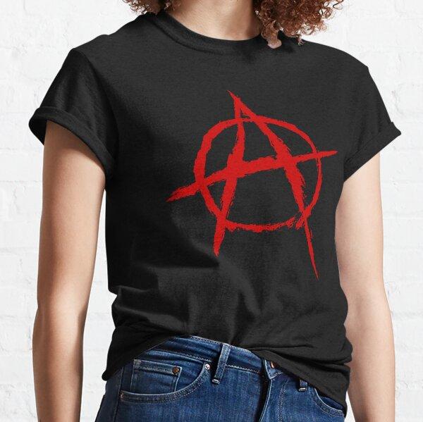 Símbolo de la anarquía en rojo Camiseta clásica
