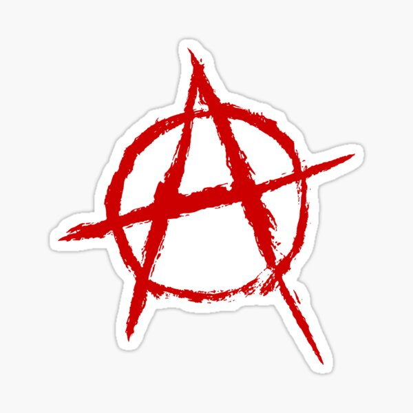Símbolo de la anarquía en rojo Pegatina