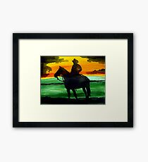 Sunset Cowboy Framed Print