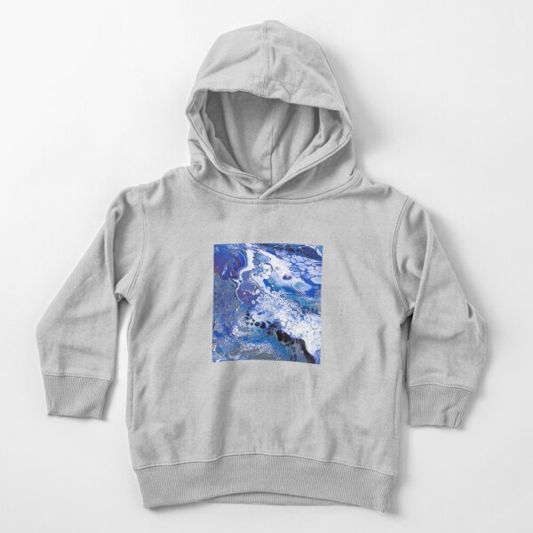 Royal Blue, Hidden Gold (Marbled Acrylic Pour) Toddler Pullover Hoodie