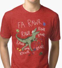 T-Rex Christmas Dinosaur - Dinosaur Christmas Tri-blend T-Shirt