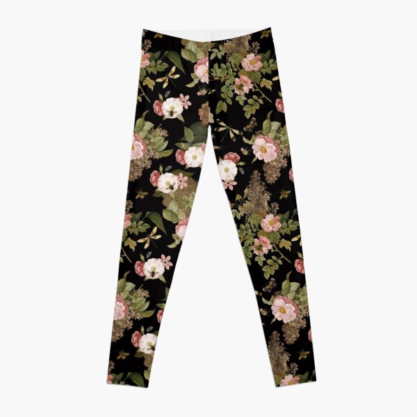 UtART - Vintage Roses Spring Flower And Early Insects Pattern - Sepia Black Leggings