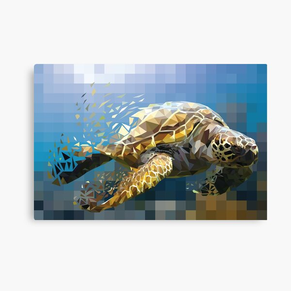 Low-Poly Pacific Green Sea Turtle Canvas Print