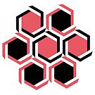 Red and black geometric beehive by cesarpadilla