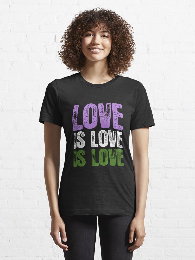Alternate view of Genderqueer Pride Love is Love is Love Essential T-Shirt
