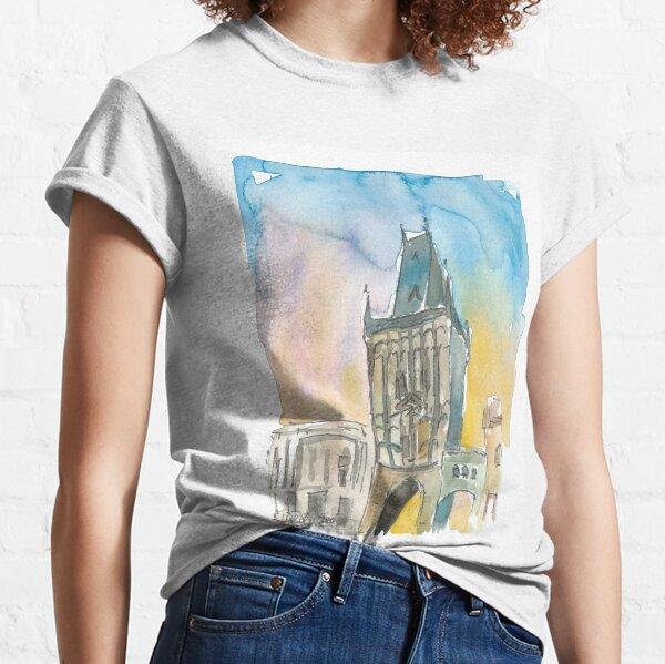 Powder Tower Prague Czech Republic At Sunset Classic T-Shirt