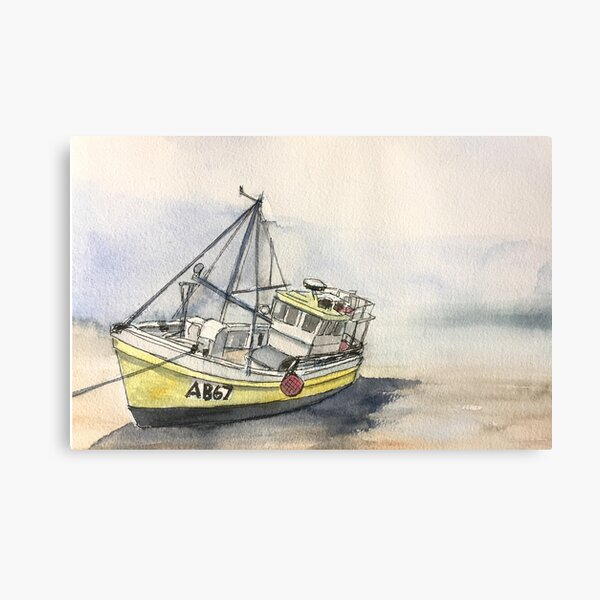 The Boat on New Quay Beach Metal Print
