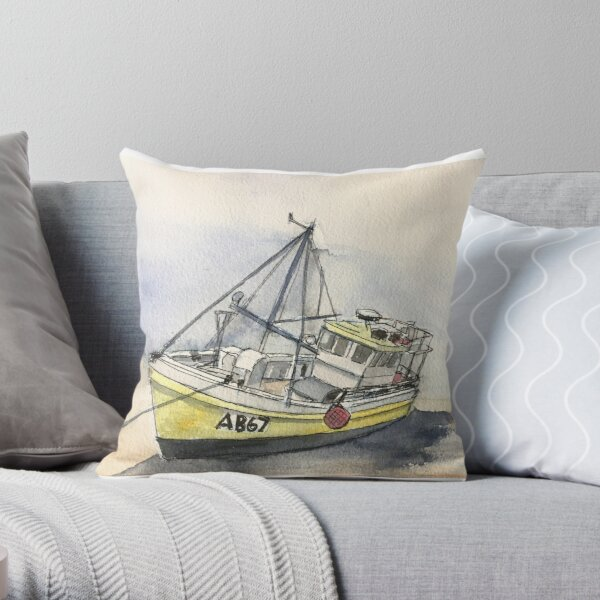 The Boat on New Quay Beach Throw Pillow