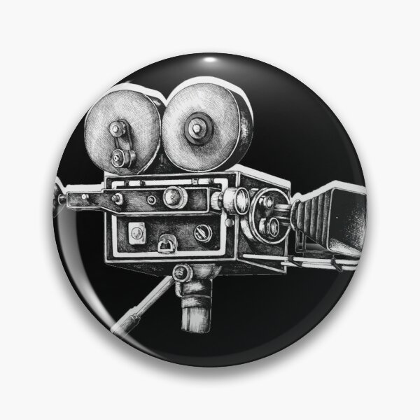 Awesome Distressed Film Video Camera Cameraman  Pin
