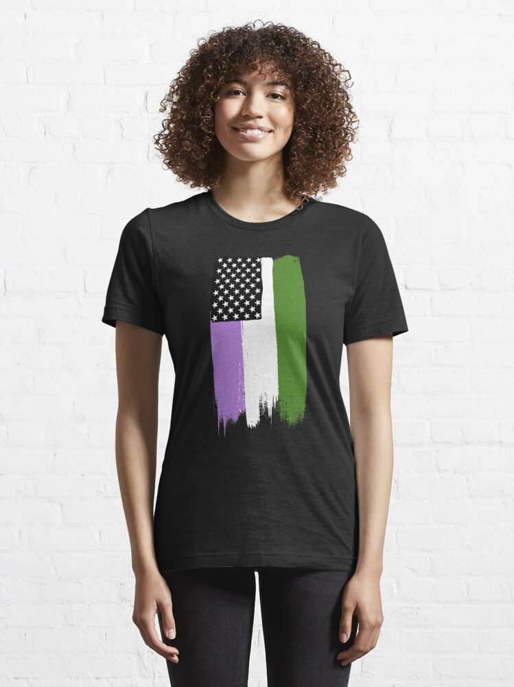 Alternate view of Genderqueer Pride Stars and Stripes Essential T-Shirt