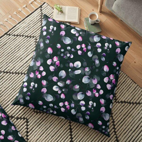 Dark abstract romantic leaves Floor Pillow