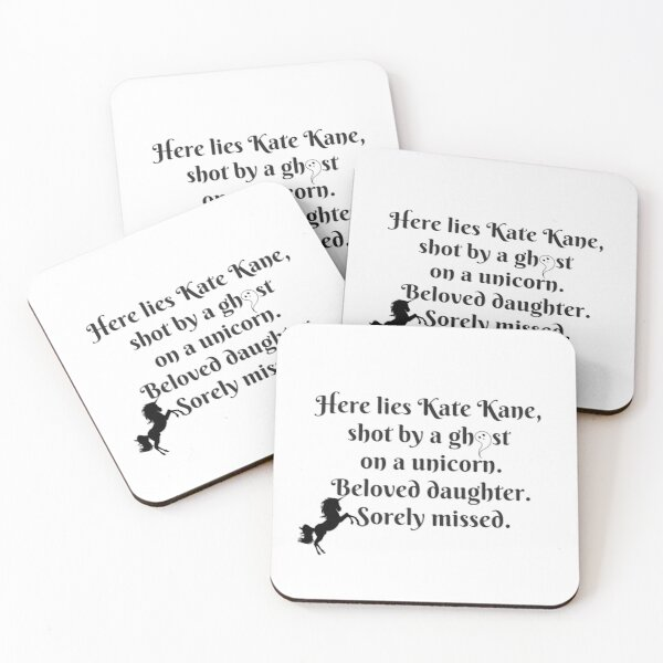 Shot By a Ghost On a Unicorn Coasters (Set of 4)