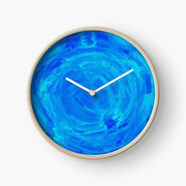 bright watercolor circle in shades of blue Clock