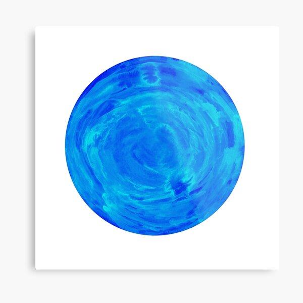 bright watercolor circle in shades of blue Metal Print