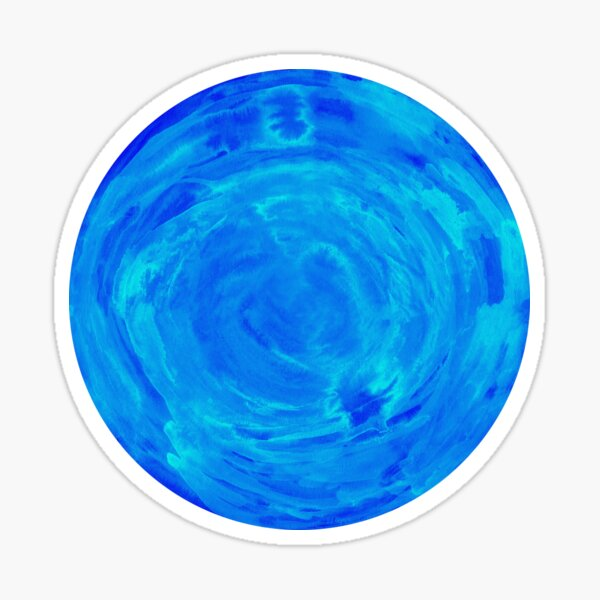 bright watercolor circle in shades of blue Sticker