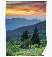 Fire in the Mountains - Blue Ridge Parkway NC Landscape Poster