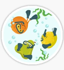 Some fruits diving in the water Sticker