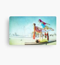 Acroyoga with two flyers Canvas Print