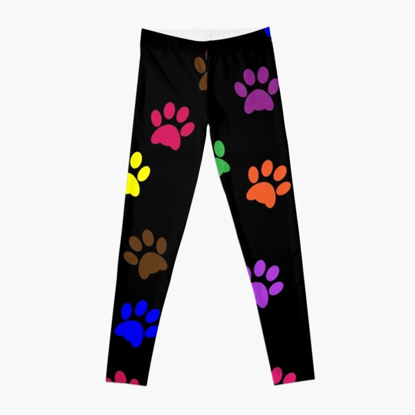 Paw Prints Colorful Background Leggings